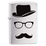 Зажигалка Zippo 28648 Moustache & Hat Brushed Chrome