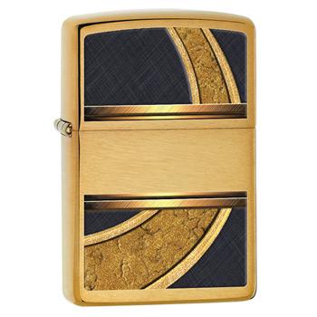 яЗажигалка Zippo 28673 Gold & Black Brushed Brass